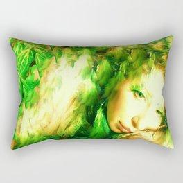 Fairy feather head dress fairy goddess green feathers ,WOOD NYMPH Rectangular Pillow