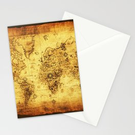 Arty Vintage Old World Map Stationery Cards