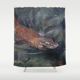 Swimming komodo dragon Shower Curtain