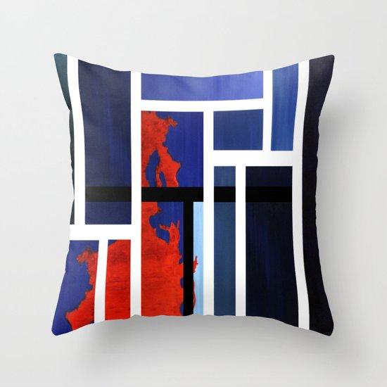 Blue Me Orange Throw Pillow