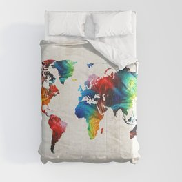 World Map 19 - Colorful Art By Sharon Cumming Comforters