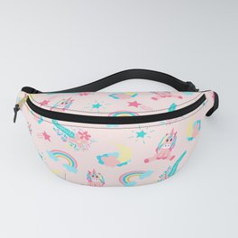Cute Pink Teal Unicorn Rainbow Floral Stars Fanny Pack