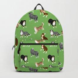 Australian Shepherd Pattern (Green Background) Backpack