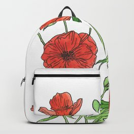 Red poppy watercolor painting Backpack
