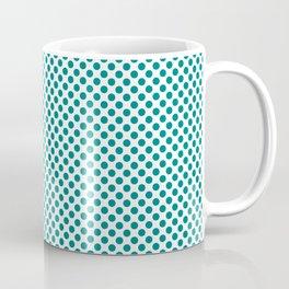 Deep Peacock Blue Polka Dots Coffee Mug