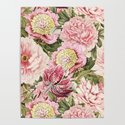 Vintage & Shabby Chic Floral Peony & Lily Flowers Watercolor Pattern by vintage_love