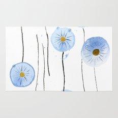 blue abstract dandelion 2 Rug