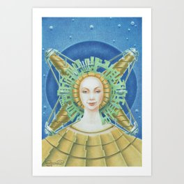 """Portrait with green headpiece"" Art Print"
