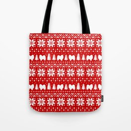 American Eskimo Dogs Christmas Sweater Pattern Tote Bag