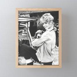 Brigitte Bardot and Dog Retro Vintage Art Framed Mini Art Print