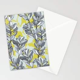 Leaf and Berry Sketch Pattern in Mustard and Ash Stationery Cards