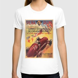 1948 Vintage Barcelona Car Racing Motor Sport Penya Rhin Grand Prix Gran Premio Advertisement Poster T-shirt