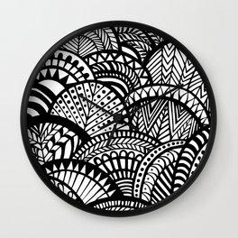 Black Tropical Ethnic Print Wall Clock