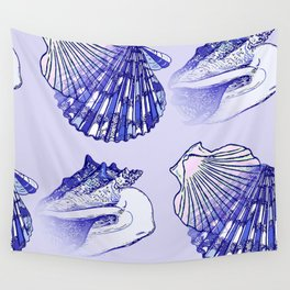Seashells Beach Pattern Blue Wall Tapestry