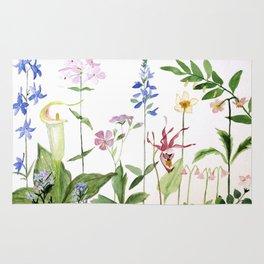 Botanical Garden Flower Wildflower Watercolor Art Rug