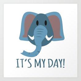 Boy Birthday Elephant Nature Wildlife Kids Children Party Celebration gift idea Art Print