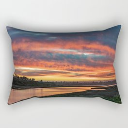 Red Cloud Sunset Over the Back Bay Rectangular Pillow
