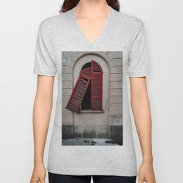 Red doors of a window of an old dilapidated Italian building Unisex V-Neck