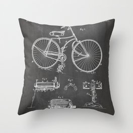 Bicycle Patent - Cyclling Art - Black Chalkboard Throw Pillow