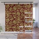 Red & Gold Floral Damasks Pattern by artonwear