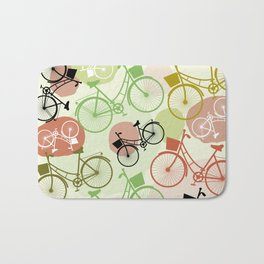 Vintage bicycles, seamless pattern, pastel green brown beige colors Bath Mat