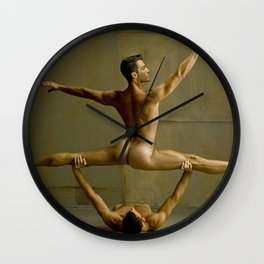 Gay Naked Gymnasts, Fit sculptured young bodies Wall Clock