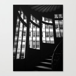 Windows in Infamous Rookery Building Chicago Illinois Black and White Photo Canvas Print