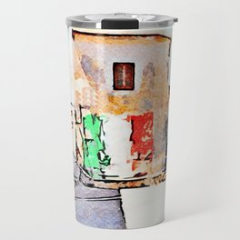 Tortora glimpse with Italian flag painted on the wall of building Travel Mug