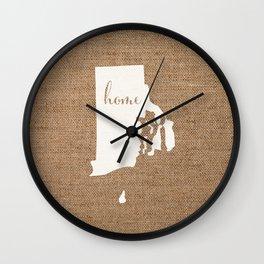 Rhode Island is Home - White on Burlap Wall Clock