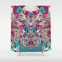 botanical Shower Curtains featuring Botanical Blue by RIZA PEKER