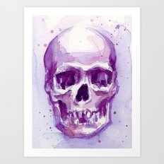 Pink Skull Watercolor Purple Abstract Art Print