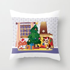Merry Christmas Cat and Dog Throw Pillow