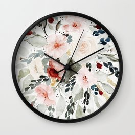 Loose Watercolor Bouquet Wall Clock
