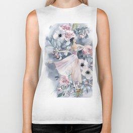 Ballerina and flowers n.4 Biker Tank