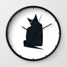 Origami Chat Noir Wall Clock