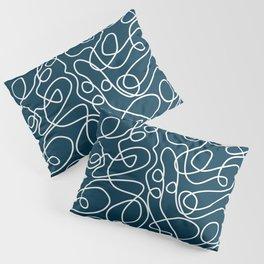 Doodle Line Art Pattern   White on Dark Blue-Green  Pillow Sham