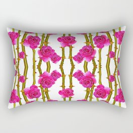 "FUCHSIA PINK ""ROSES & THORNS"" WHITE ART Rectangular Pillow"