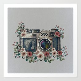 Camera with Summer Flowers Art Print