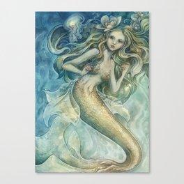 mermaid with Flowers in her hair Canvas Print