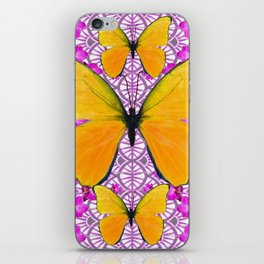 FUCHSIA COLORED  ORCHIDS &  YELLOW  BUTTERFLY FLORAL iPhone Skin