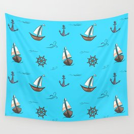 Happy Sailing Pattern with blue background Wall Tapestry