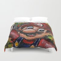 mario Duvet Covers featuring Mario  by Megan Bailey Gill