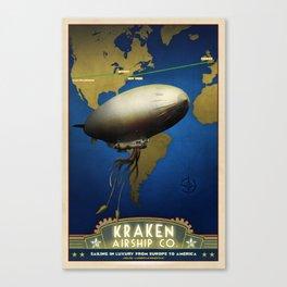Steampunk Airship: Laurentian Homestead Retro Travel Poster Art Print Canvas Print