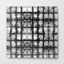 BW Shibori Grid Metal Print