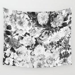 Black gray modern watercolor roses floral pattern Wall Tapestry