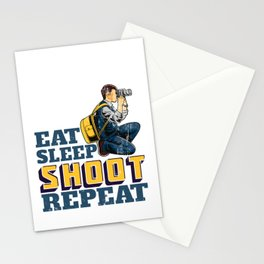 Eat Sleep Shoot Repeat Funny Gift for Photographers Stationery Cards