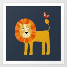 Lion Looking at a Butterfly Art Print