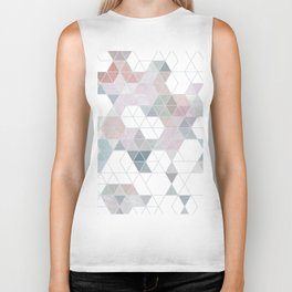 Abstract Snow on Soft Geometry #abstractart #winterart Biker Tank
