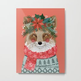 Christmas Fox with Winter floral crown Metal Print
