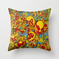 mucha Throw Pillows featuring Mucha Lucha by Guilherme Marconi